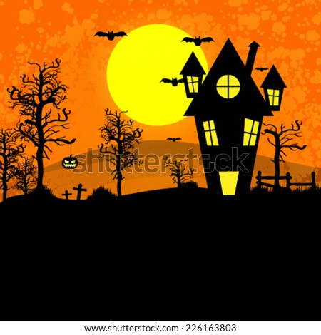 Vector halloween background with haunted house bats, illustration - stock vector