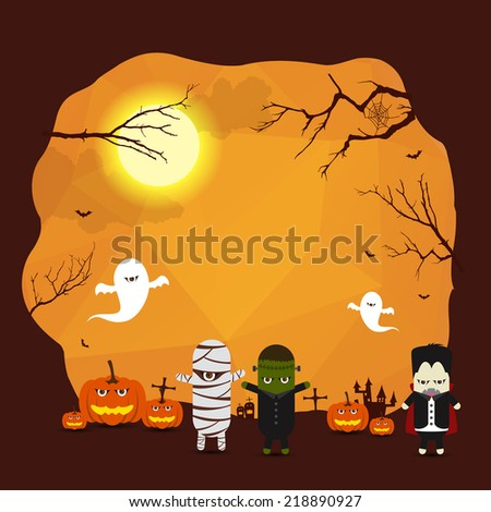 Vector Halloween border background for design with monster ghost mummy Dracula - stock vector