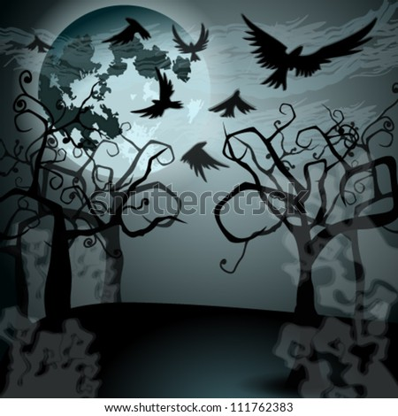Vector Halloween illustration with full Moon, crows and creepy forest - stock vector