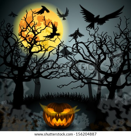 Vector Halloween illustration with full Moon, Jack O'Lantern, forest and crows - stock vector