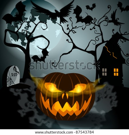 Vector Halloween illustration with full Moon, Jack O'Lantern, scary house, headstones and bats - stock vector