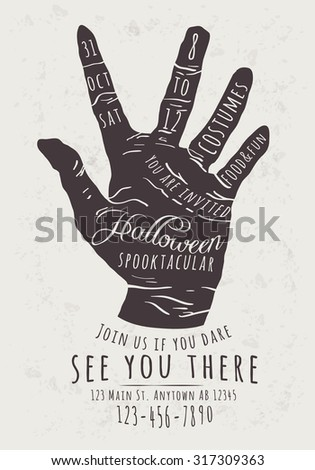 Vector Halloween Party Invitation with zombie hand background - stock vector