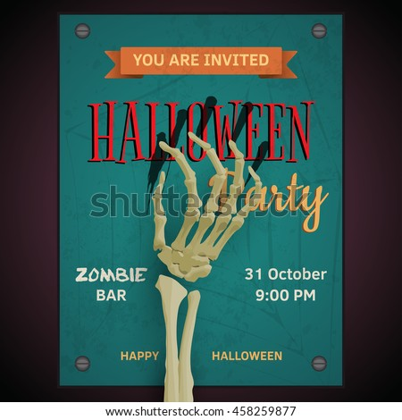 Vector Halloween party poster with dead man's zombie skeleton arm on invitation to party. - stock vector