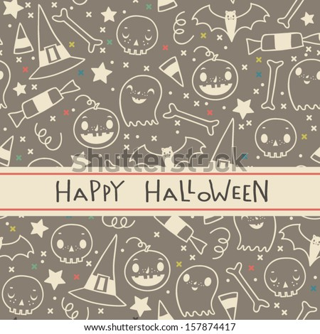 Vector halloween seamless pattern. Cartoon sculls and pumpkins. Halloween elements for scrap-booking. Hand drawn vector illustration.  - stock vector