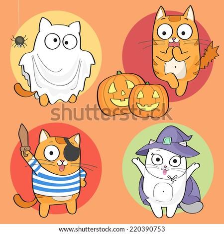Vector Halloween Set of cute cartoon cat characters. - stock vector