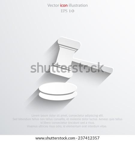 Vector hammer judge web icon. Eps 10. - stock vector