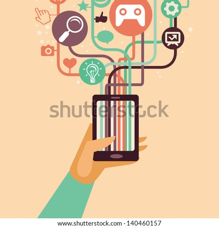 Vector hand and mobile phone with internet icons - illustration in flat retro style - stock vector