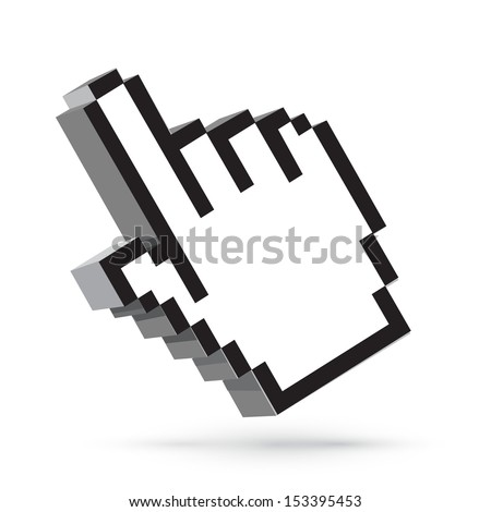 Vector hand arrow cursor. Web design element isolated on white - stock vector