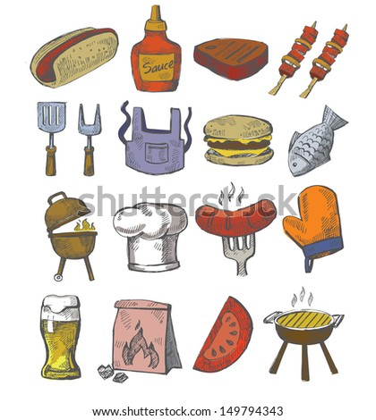 vector hand draw barbecue icon set on white - stock vector