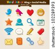 Vector Hand Draw Blog And Social Media Icon Set - stock vector