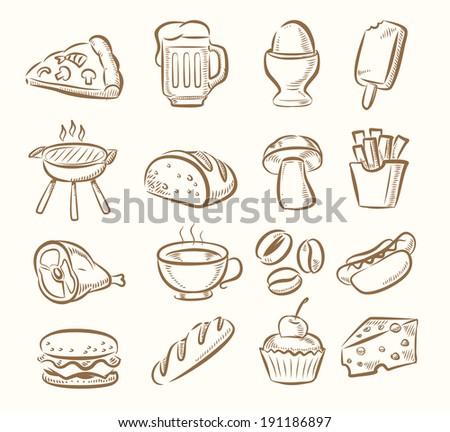 vector hand draw kitchen icon set on beige - stock vector