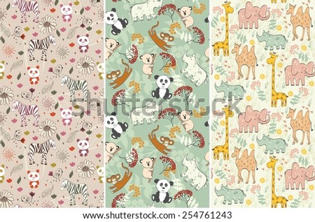 vector hand draw seamless pattern with animals - stock vector