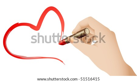 Vector Hand Drawing a Heart Shape With Red Lipstick - stock vector