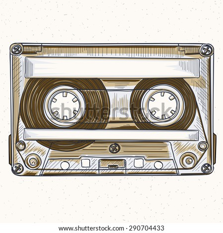 Vector hand-drawing audio cassette - stock vector