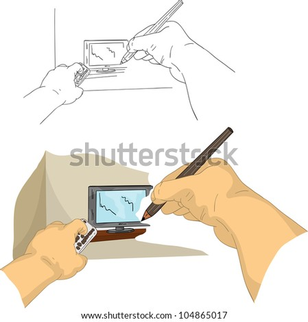 vector - hand drawing TV, isolated on background - stock vector