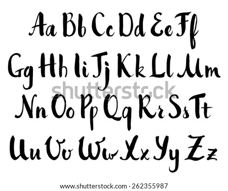 Vector hand drawn alphabet. Brush painted letters, rough contour. - stock vector
