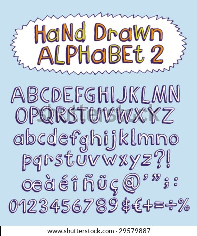 Vector hand drawn alphabet for designer 2. Change easily the colors as you wish. - stock vector