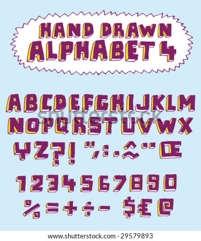 Vector hand drawn alphabet for designer 4. Change easily the colors as you wish. - stock vector