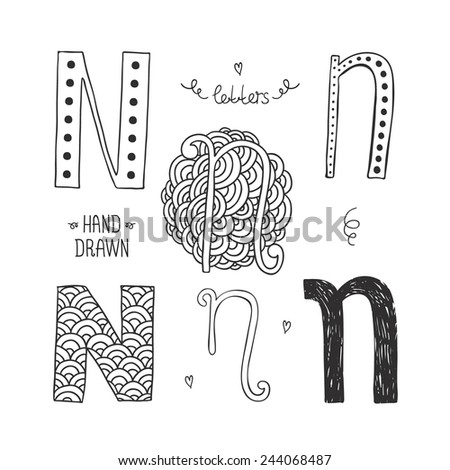 Vector hand drawn alphabet, letter n. Doodle letters set isolated on white background - stock vector