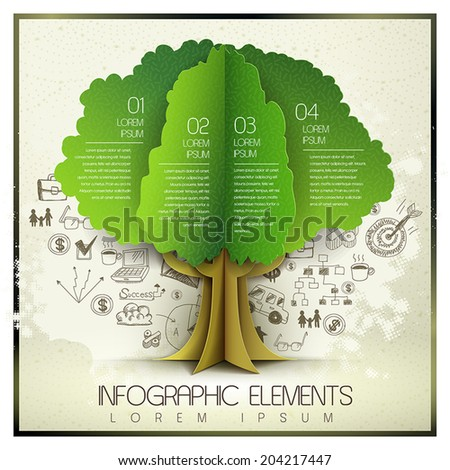 vector hand drawn and organic paper style template with tree element - stock vector