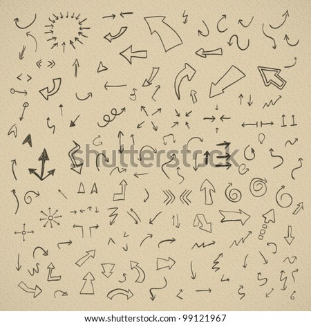 Vector hand drawn arrows set on vintage background - stock vector
