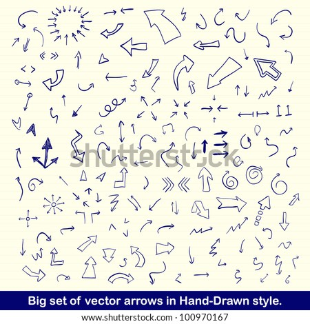 Vector hand drawn arrows set written with blue ink on vintage paper - stock vector