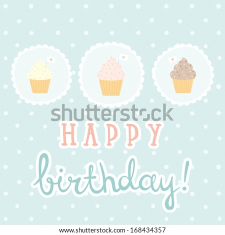 Vector hand drawn birthday greeting card - stock vector