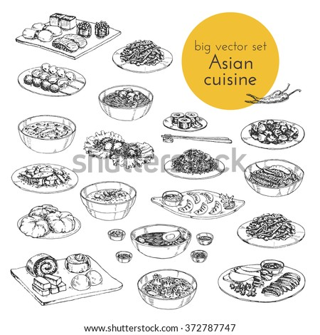 Vector hand drawn black and white illustration with a set of Asian dishes. Japanese, Chinese and Korean cuisine. - stock vector