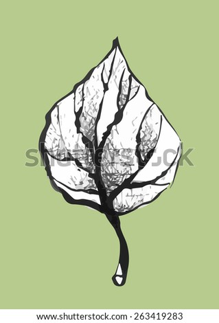 vector hand drawn black and white leaf pop art style - stock vector