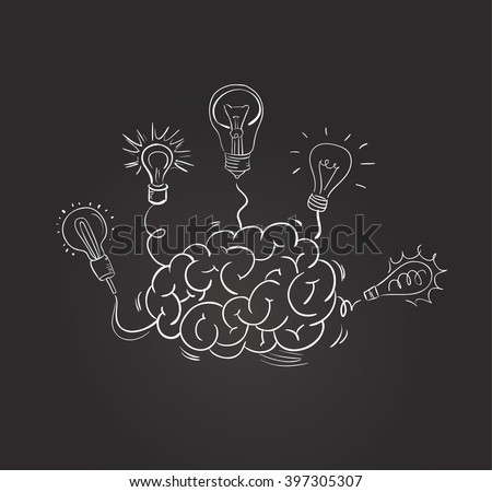 Vector hand drawn brain with different bulbs on blackboard. Idea concept. Sketchy style - stock vector