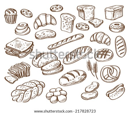 vector hand drawn bread on white background - stock vector