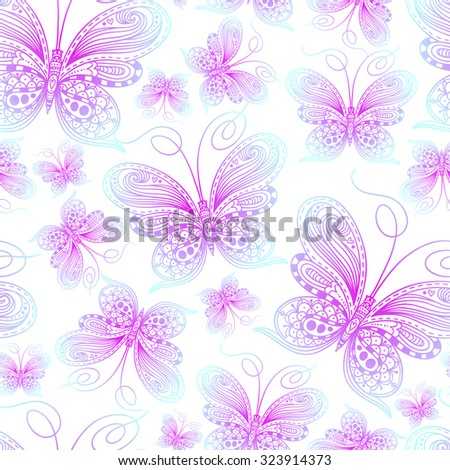 Vector hand-drawn butterflies. Seamless patterns with doodles and sketches of insects. - stock vector