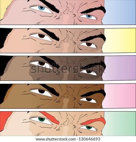 Vector hand drawn cartoon comic book eyes in various color - stock vector