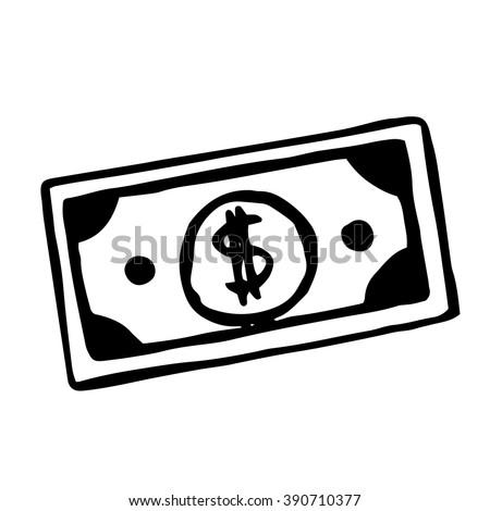 Vector hand drawn cartoon dollar bill, doodle object - stock vector