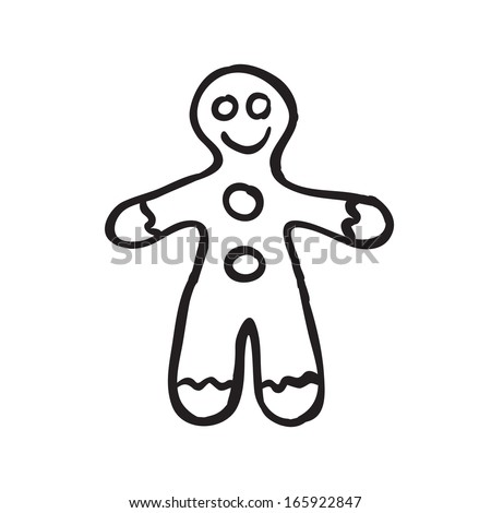 Vector hand drawn Christmas gingerbread man. Black sketch on white background. - stock vector
