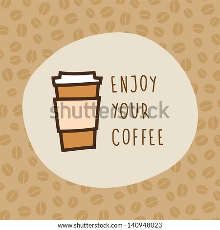 Vector hand drawn coffee card - stock vector