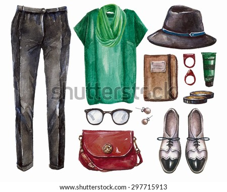 Vector hand drawn collage of summer,spring ore autumn girl clothing and accessories isolated on white background. Outfit of casual and elegant  woman style. Create by watercolor  - stock vector