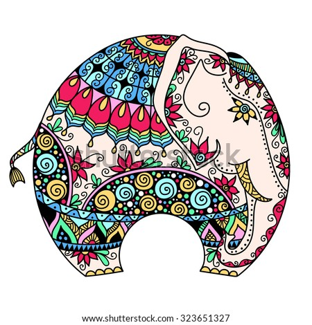 vector hand-drawn color tattoo doodle with decorated Indian Elephant - stock vector