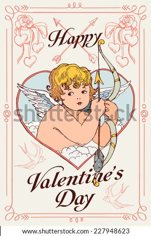 Vector hand drawn colored greeting card cover template on valentines day featuring winged cupid in heart shaped frame holding bow and arrow   Creative romantic poster for valentine day wall decoration - stock vector