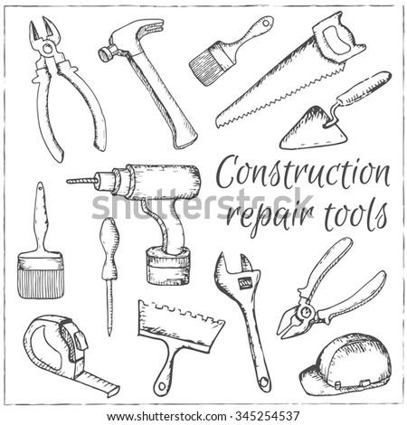 Vector hand drawn construction and repair tools set . - stock vector