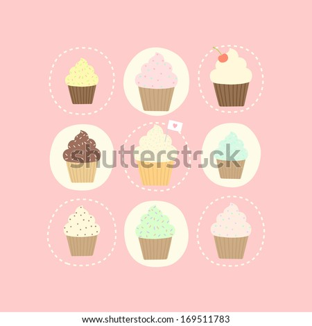Vector hand drawn 9 cupcake card - stock vector