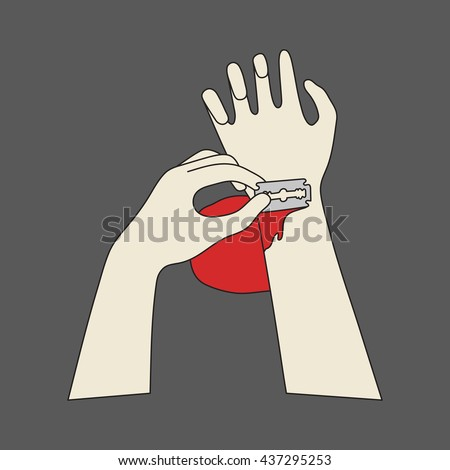 Vector hand drawn cut veins. bloody hand sketch. Suicide art - stock vector