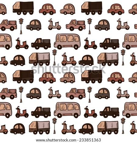 Vector hand drawn doodle cartoon cars seamless pattern - stock vector