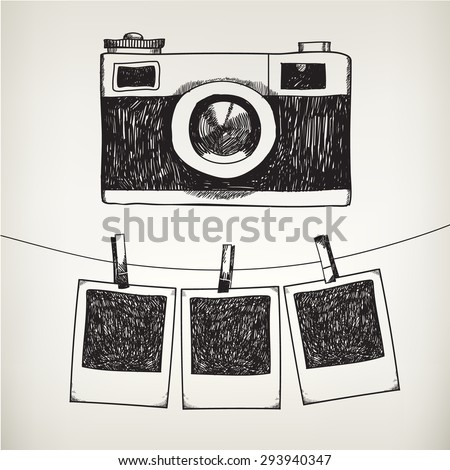 Vector hand drawn doodle illustration of retro photo frames and camera. Hanging photos in a photo studio. - stock vector