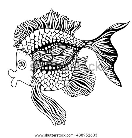 Vector hand drawn doodle outline fish illustration. Decorative fish drawing with abstract ornaments - stock vector