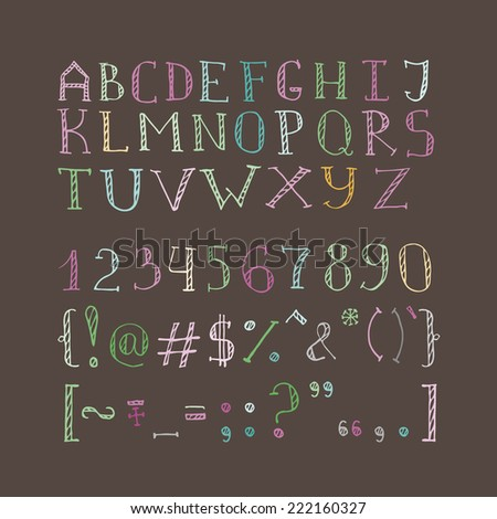 Vector hand drawn doodle uppercase font - stock vector