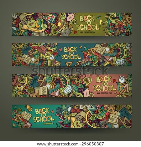 Vector hand drawn doodles school design banners template set - stock vector