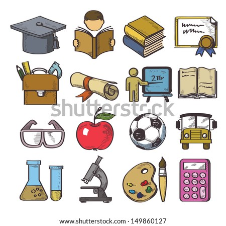 vector hand drawn education icon set on white - stock vector
