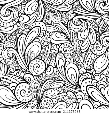Vector hand drawn ethnic black and white seamless pattern.  - stock vector