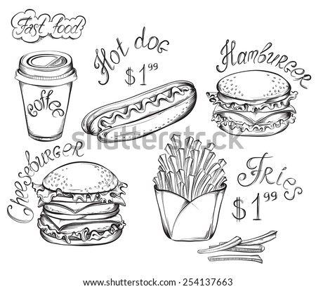 Vector hand drawn fast food set isolated on a white in vintage style. - stock vector